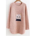 Cartoon Cat Embroidered Round Neck Long Sleeve Pullover Sweater