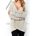 New Fashion Simple Plain V-Neck Long Sleeve Pullover Sweater