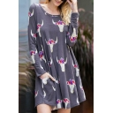 Chic Floral Pattern Round Neck Long Sleeve Swing Mini Dress