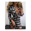 Sexy Crisscross V-Neck Split Side Long Sleee Shirt Mini Dress