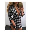 Sexy Crisscross V-Neck Split Side Long Sleee Shirt Mini Dress