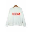 New Fashion Letter Pront Round Neck Long Sleeve Pullover Sweatshirt
