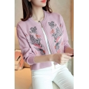 Chic Floral Embroidered Srtand-Up Collar Long Sleeve Cropped Baseball Coat