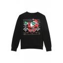 New Santa Claus Patterned Round Neck Long Sleeve Sweatshirt