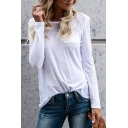 Women's Chic Simple Plain Round Neck Long Sleeve Tee
