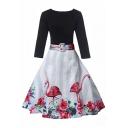 Chic Floral Flamingo Pattern V-Neck Long Sleeve Swing Midi Dress