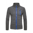 New Stylish Contrast Zipper Long Sleeve Stand-Up Collar Sport Jacket
