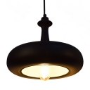 Industrial Pendant Light with 11.81''W Metal Shade, Black