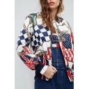 New Fashion Graphic Pattern Long Sleeve Quilted Baseball Jacket