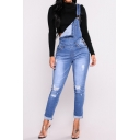 New Fashion Simple Ripped Out Denim Overall Jumpsuit