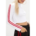 Simple Striped Side Long Sleeve Cropped Tee