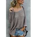 Simple Plain One Shoulder Long Sleeve Loose Sweater