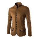 New Stylish Stand-Up Collar Long Sleeve Simple Plain Single Breasted Coat
