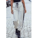 Leisure Color Block Striped Side High Waist Pants