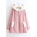 Chic Simple Buttons Down Long Sleeve Ears Hooded Woolen Coat