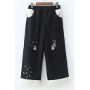 Cartoon Embroidered Elastic Waist Wide Leg Pants