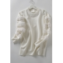 Simple Plain Faux Fur Embellished Long Sleeve Pullover Sweater