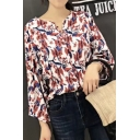 Floral Pattern V-Neck Long Sleeve Buttons Down Shirt