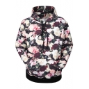 New Stylish Drawstring Hood Pocket Long Sleeve 3D Floral Print Hoodie