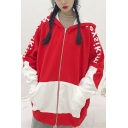 New Stylish Color Block Letter Print Zipper Long Sleeve Hoodie