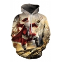 Chic 3D Christmas Theme Print Drawstring Hood Long Sleeve Hoodie