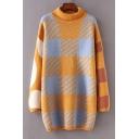 Chic Color Block Plaid Print Long Sleeve Turtleneck Sweater Dress
