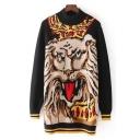 Fashionable Loin Print Long Sleeve Turtleneck Tunic Pullover Sweater