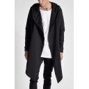 Fashionable Open Front Long Sleeves Hign Low Hem Hooded Plain Longline Coat