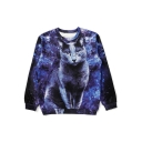 Fashion Cat Print Long Sleeve Loose Pullover Sweatshirt
