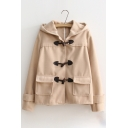 British Style Long Sleeve Toggle Flap Pocket Plain Hooded Coat