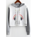 Chic Color Block Rainbow Unicorn Print Long Sleeve Cropped Hoodie