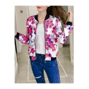 Leisure Floral Print Stand-Up Collar Long Sleeve Baseball Jacket