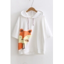 New Fashion Lovely Cartoon Fox Print Hooded Half Sleeve Tee