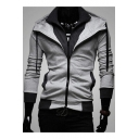 New Stylish Color Block Trim Drawstring Hood Long Sleeve Zip Up Coat