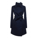 Fashion Oversize Collar Long Sleeve Bow Tie Waist Plain Tunic Coat