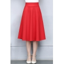 Simple Plain High Waist A-Line Midi Skirt