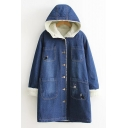 New Fashion Cartoon Animals Print Long Sleeve Buttons Down Hooded Denim Coat