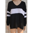 New Fashion Color Block V-Neck Long Sleeve Pullover Sweater