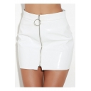 New Fashion Plain Zip Up High Waist PU Mini Skirt