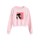 New Fashion Cartoon Print Round Nexk Long Sleeve Pullover Sweatshirt
