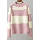 New Fashion Simple Color Block Round Neck Long Sleeve Pullover Sweater