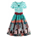 Stylish Short Sleeve Bow Belted House Striped Pattern T-Shirt Fit & Flare Dress