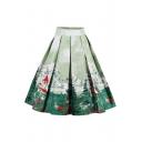 Stylish Landscape Printed Pleated Midi A-Line Skirt