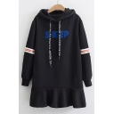Chic Embroidery Letter Pattern Striped Long Sleeve Mini Hooded Dress