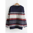 New Fashion Leisure Geometric Pattern Round Neck Long Sleeve Pullover Sweater
