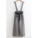 Chic Plaid Pattern Bow Front Straps Wide Leg Pants