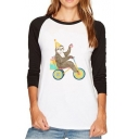 New Fashion Cartoon Sloth Print Long Sleeve T-Shirt