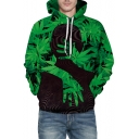Stylish Hand Leaf Printed Long Sleeve Hoodie with Kangaroo Pocket