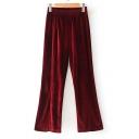 New Stylish Elastic Waist Velvet Simple Plain Split Side Wide Leg Pants