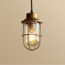 Industrial Pendant Light in Nautical Style with Metal Cage, Gold